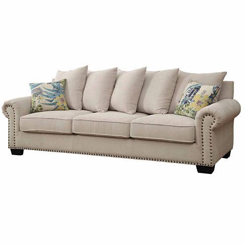 Ellis Transitional Fabric Roll-Arm Sofa
