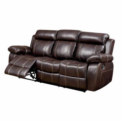 Verona Transitional Faux Leather Pad-Arm Sofa