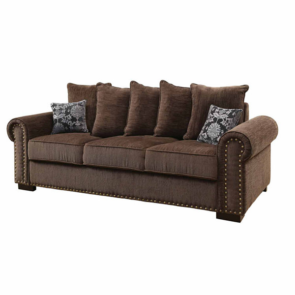 Valdez Transitional Fabric Roll-Arm Sofa