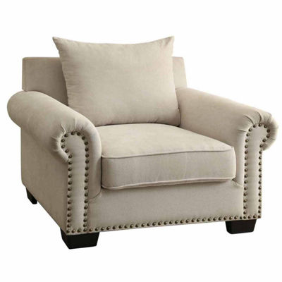 Ellis Transitional Nailhead Trim Fabric Chaise Lounge