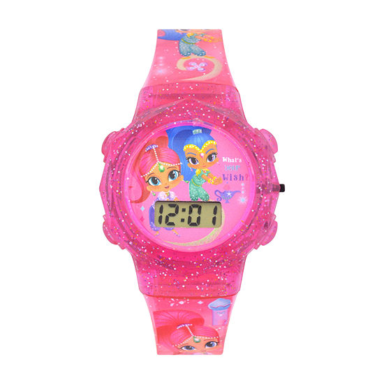 Shimmer And Shine Girls Digital Pink Strap Watch-Sns4048jc