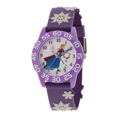 Disney Frozen Girls Purple Strap Watch-Wds000321
