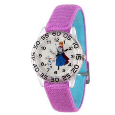 Disney Frozen Girls Purple Strap Watch-Wds000322