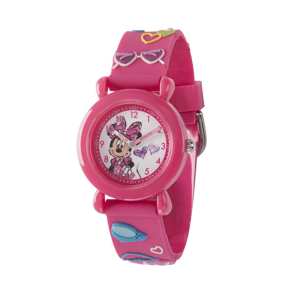 Disney Minnie Mouse Girls Pink Strap Watch-Wds000387