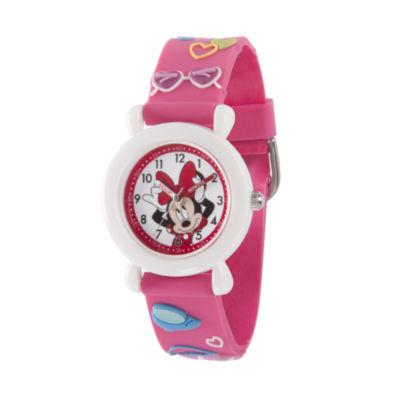 Disney Minnie Mouse Girls Pink Strap Watch-Wds000389