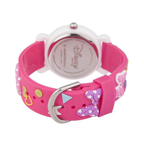 Disney Minnie Mouse Girls Pink Strap Watch-Wds000390