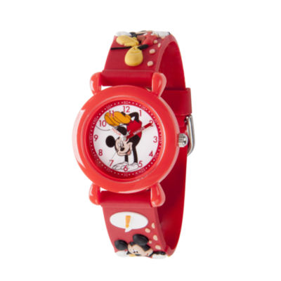 Disney Mickey Mouse Boys Red Strap Watch-Wds000391