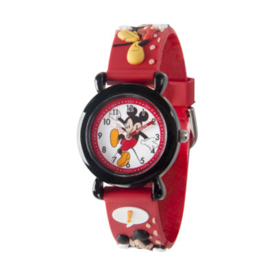 Disney Mickey Mouse Boys Red Strap Watch-Wds000393