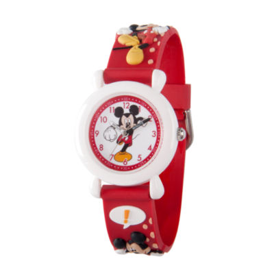 Disney Mickey Mouse Boys Red Strap Watch-Wds000394