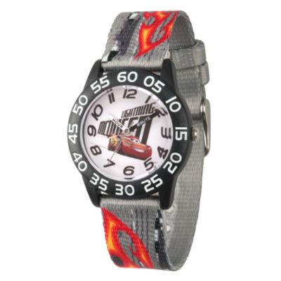 Disney Cars Boys Gray Strap Watch-Wds000438