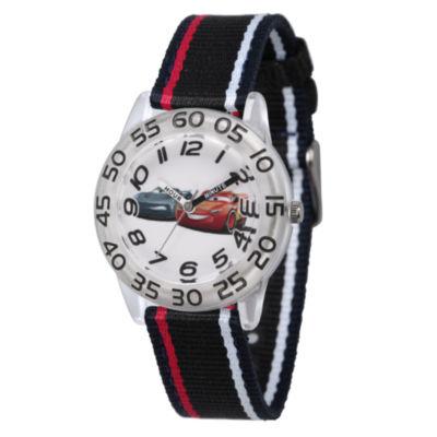 Disney Cars Boys Black Strap Watch-Wds000439