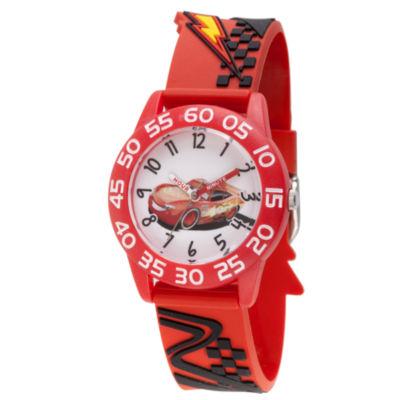 Disney Cars Boys Red Strap Watch-Wds000443