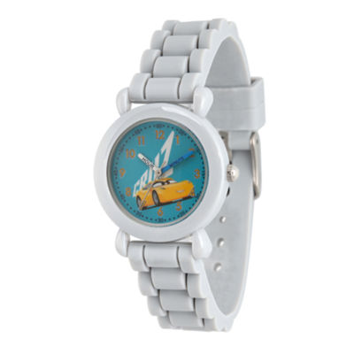 Disney Cars Boys Gray Strap Watch-Wds000444