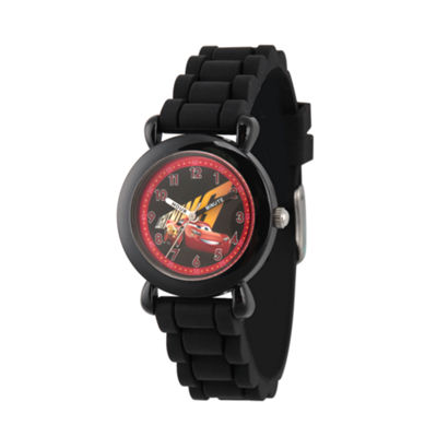 Disney Cars Boys Black Strap Watch-Wds000446