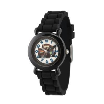 Disney Cars Boys Black Strap Watch-Wds000448
