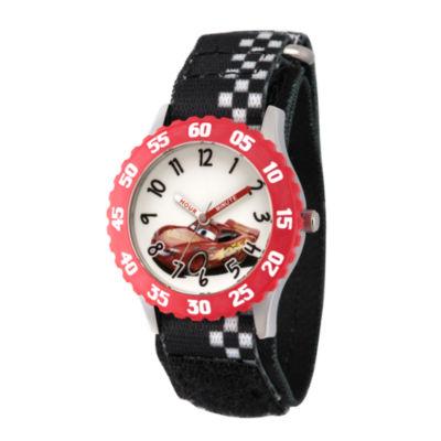 Disney Cars Boys Black Strap Watch-Wds000458