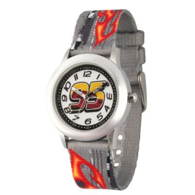 Disney Cars Boys Gray Strap Watch-Wds000459