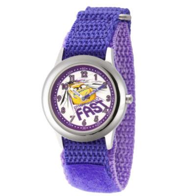 Disney Cars Girls Purple Strap Watch-Wds000462