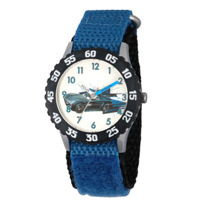 Disney Cars Boys Blue Strap Watch-Wds000465