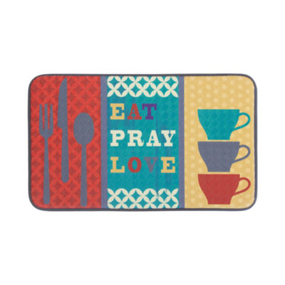 Chef Gear Eat Pray Love Anti-Fatigue Faux-Leather Kitchen Mat