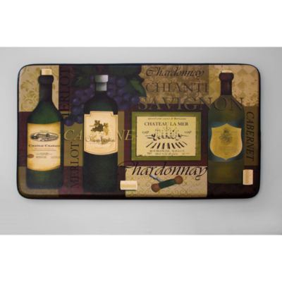 Chef Gear Favorite Wine Faux-Leather Anti-FatigueCushioned Kitchen Mat