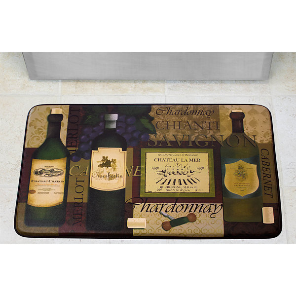 Chef Gear Favorite Wine Faux-Leather Anti-Fatigue Cushioned Kitchen Mat
