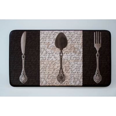 Chef Gear French Utensils Faux-Leather Anti-Fatigue Cushioned Kitchen Mat