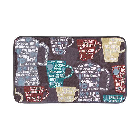 Chef Gear Fun Coffee Anti Fatigue Faux Leather Kitchen Mat