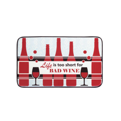 Chef Gear Life is Too Short For Bad Wine Anti-Fatigue Faux-Leather Kitchen Mat