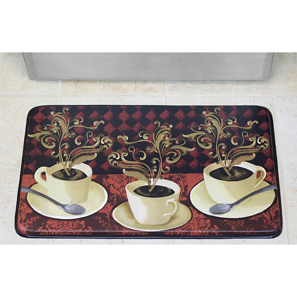 Chef Gear Lotus Café Faux-Leather Anti-Fatigue Cushioned Kitchen Mat