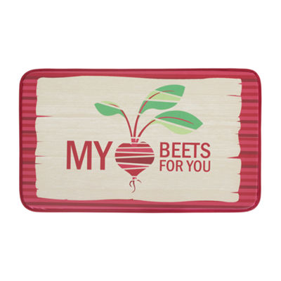 Chef Gear My Heart Beets For You Anti-Fatigue Faux-Leather Kitchen Mat