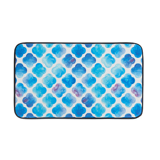 Chef Gear Watercolor Clover Anti Fatigue Faux Leather Kitchen Mat