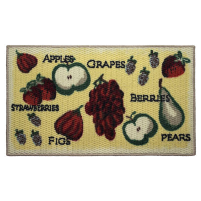 Structures Tossed Fruits Textured Loop Oblong Kitchen Mat