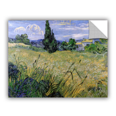 Brushstone Green Wheat Field With Cypress Removable Wall Decal