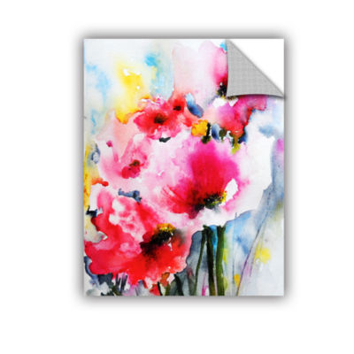 Brushstone Pink Poppies Removable Wall Decal