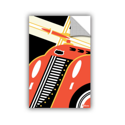 Brushstone Red Car Removable Wall Decal