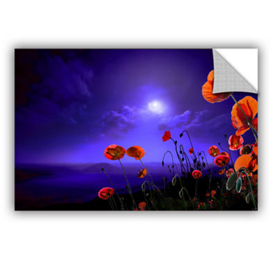 Brushstone Poppies Blue Removable Wall Decal