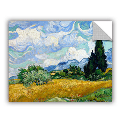 Brushstone Wheatfield With Cypresses Removable Wall Decal