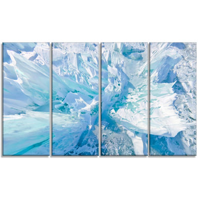 Designart Blue Ice Hummocks Baikal Landscape Canvas Art Print - 4 Panels