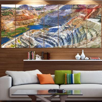 Designart Impressive Mines And Canyon Landscape Canvas Art Print - 6 Panels