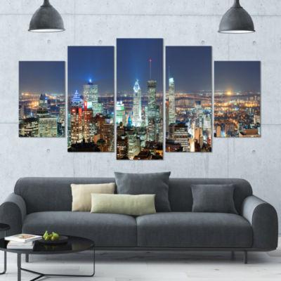 Designart Montreal At Dusk Panorama Landscape Large Canvas Art Print - 5 Panels