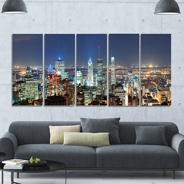 Designart Montreal At Dusk Panorama Landscape Canvas Art Print - 5 Panels