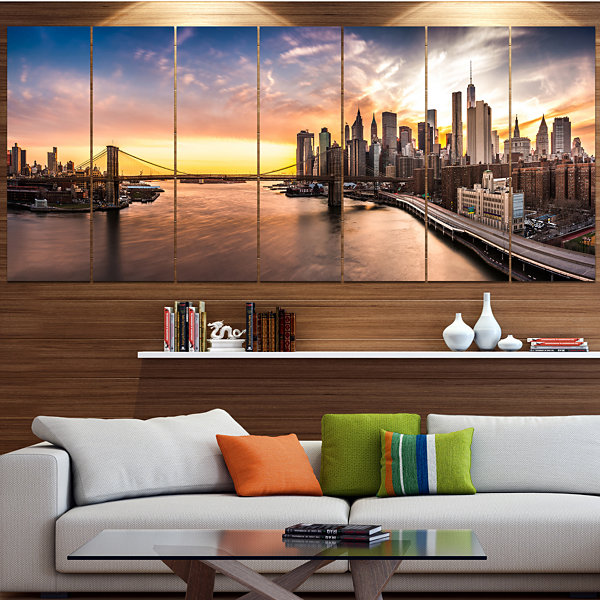 Design Art Brooklyn Bridge Panorama At Sunset Landscape Canvas Art Print - 7 Panels