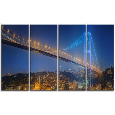 Designart Bosphorus Bridge At Night Istanbul Landscape Canvas Art Print - 4 Panels
