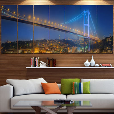 Designart Bosphorus Bridge At Night Istanbul Landscape Canvas Art Print - 7 Panels