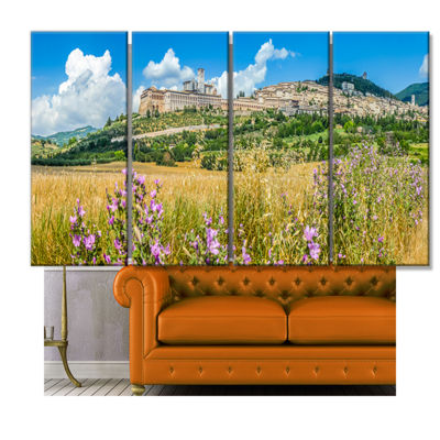 Designart Ancient Town Of Assisi Panorama Landscape Canvas Art Print - 4 Panels