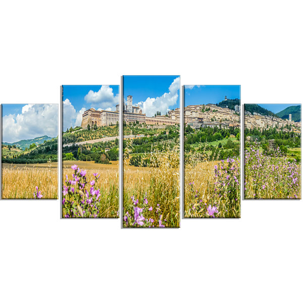 Designart Ancient Town Of Assisi Panorama Landscape Large Canvas Art Print - 5 Panels