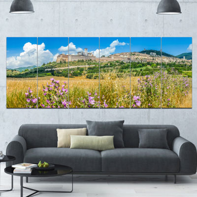 Designart Ancient Town Of Assisi Panorama Landscape Canvas Art Print - 6 Panels