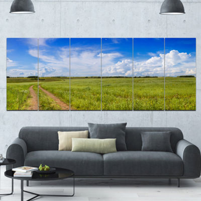 Designart Road In Field With Green Grass LandscapeCanvas Art Print - 6 Panels