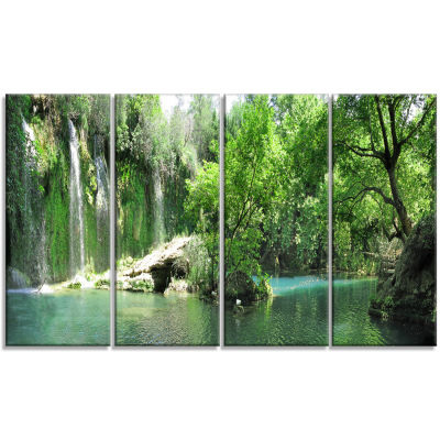 Waterfall Cascade In Deep Forest Landscape CanvasArt Print - 4 Panels